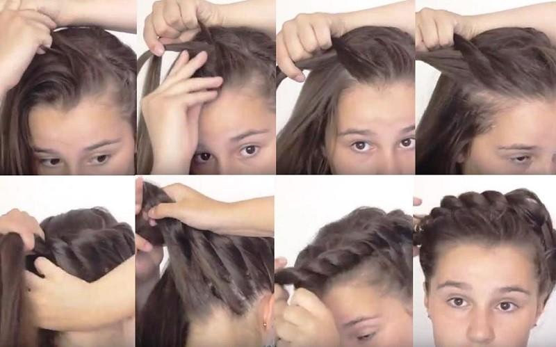 Кручёная греческая коса, вариант выполнения 2