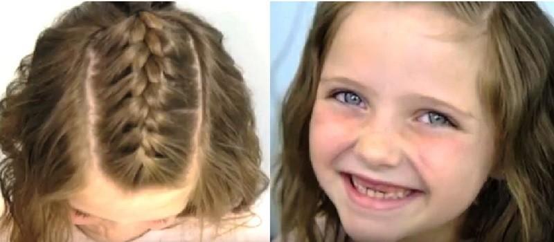 Одиночная французская косичка на коротких волосах