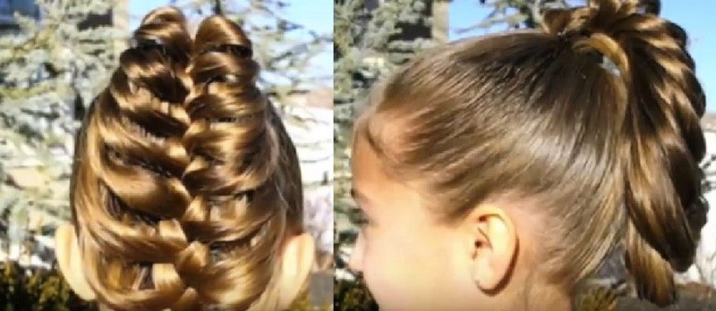 Ажурная коса на хвосте