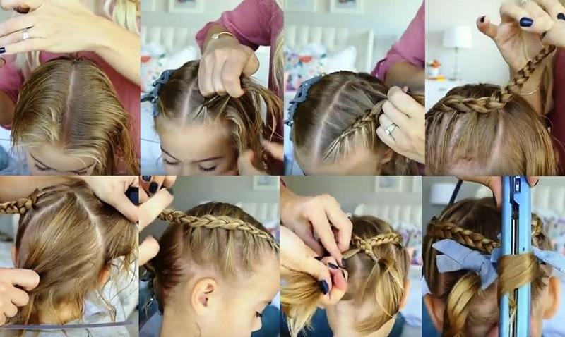 Милые косички и хвостики на коротких волосах, выполнение поэтапно