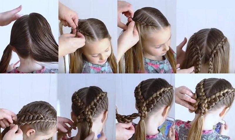 Два пучка из вывернутых французских кос для девочки, поэтапное фото