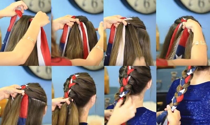 Коса с ярким шарфиком за три минуты с фото пошагового выполнения
