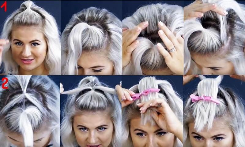 Пушистая коса из резинок на коротких волосах пошагово, часть 1