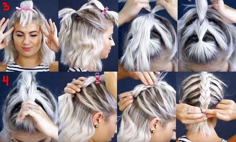 Пушистая коса из резинок на коротких волосах пошагово, часть 2