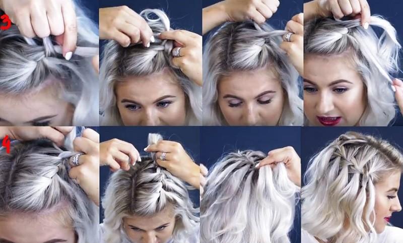 Французский водопад на короткие волосы - этапы выполнения 2