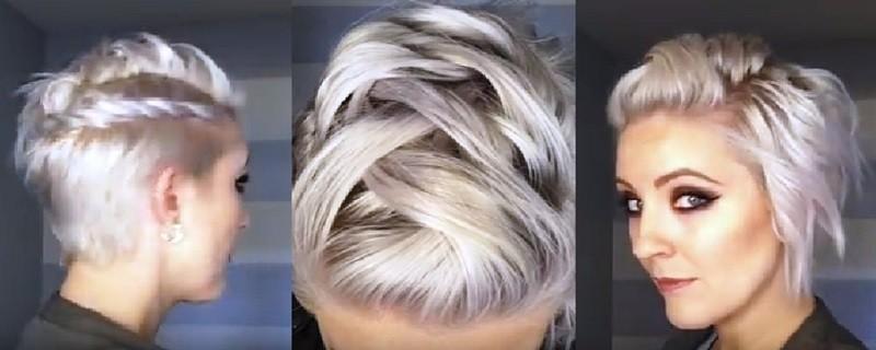 Объёмная коса «ёлочка» в сочетании со жгутом на очень коротких волосах