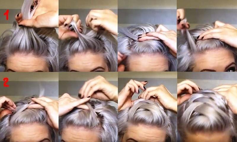 Объёмная коса «ёлочка» в сочетании со жгутом на очень коротких волосах пошагово, часть 1
