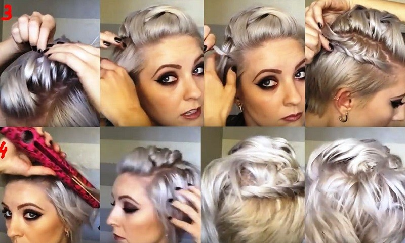 Объёмная коса «ёлочка» в сочетании со жгутом на очень коротких волосах пошагово, часть 2