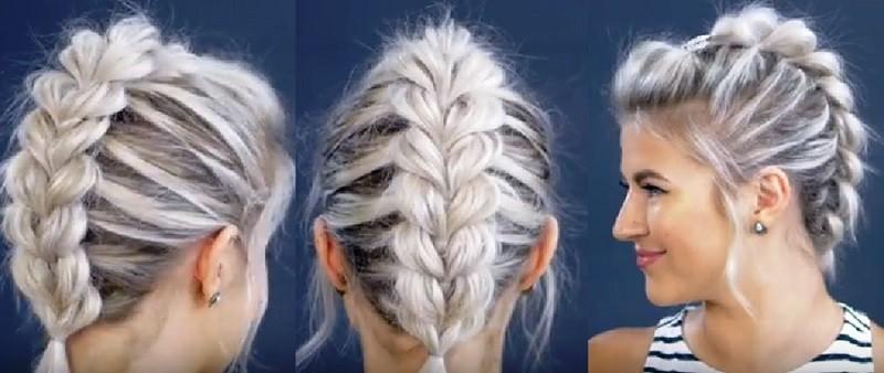 Пушистая коса из резинок на коротких волосах