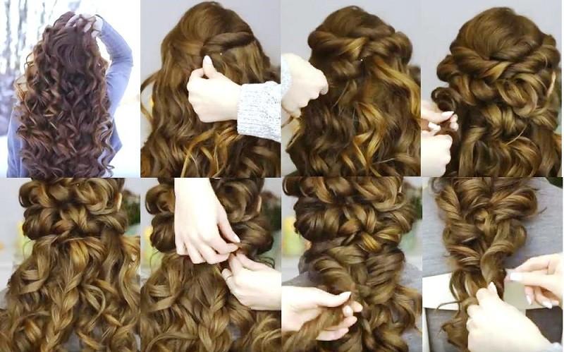 Романтическая объемная коса из локонов поэтапно