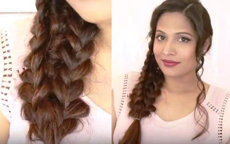 Изысканная объемная коса из шести прядей