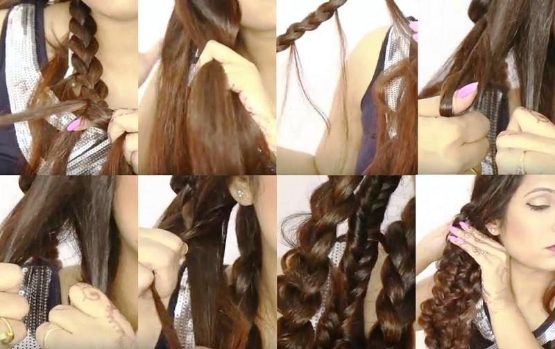 Изысканная объемная коса из шести прядей, этапы выполнения часть 2