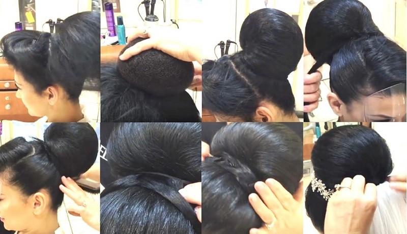 Фата в сочетании с гладким пучком, косами и веткой цветов, выполнение поэтапно