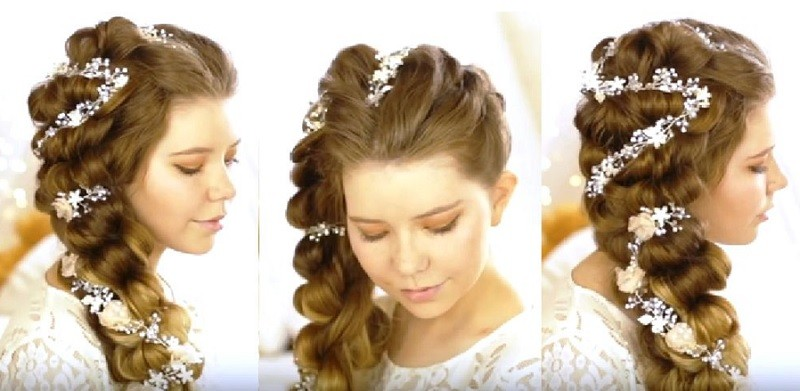 Шикарная объёмная коса набок