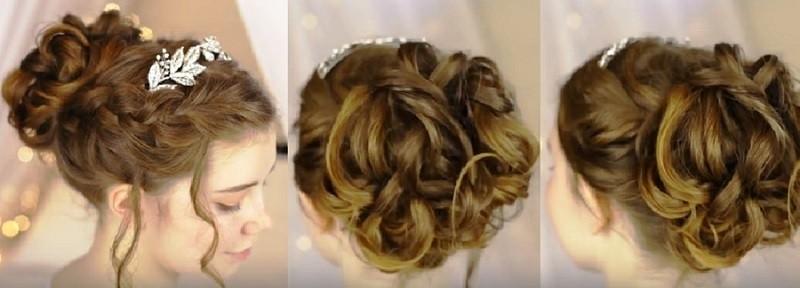 Изящная французская коса с пучком и венком