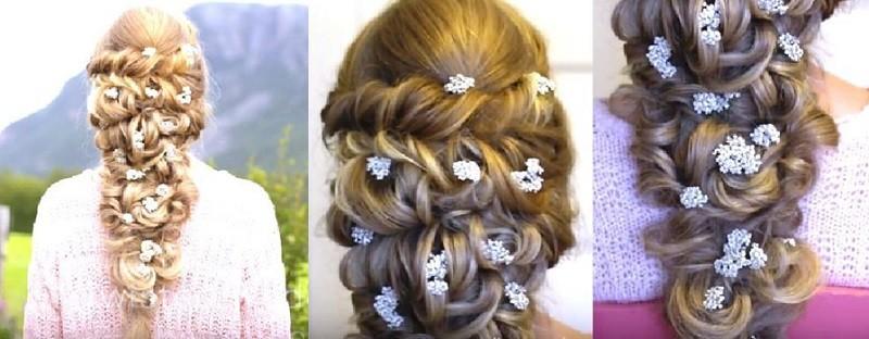 Нереально красивая коса, украшенная жгутами и мелкими цветами