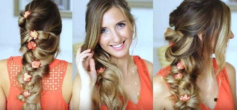Очаровательная коса из резинок, украшенная гвоздичками