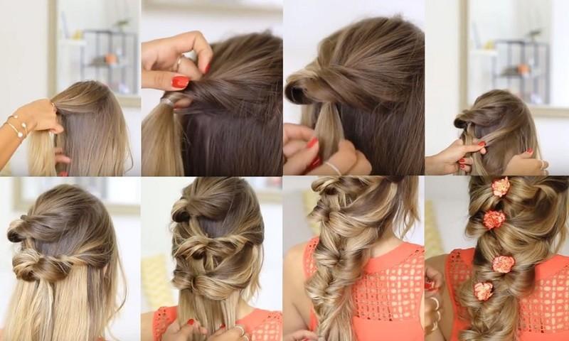 Очаровательная коса из резинок, украшенная гвоздичками, пошагово фото