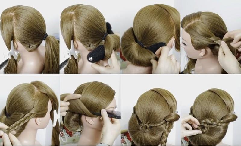 Ракушка из волос с гладкой чёлкой набок, декорированная косами и цветком, этапы выполнения