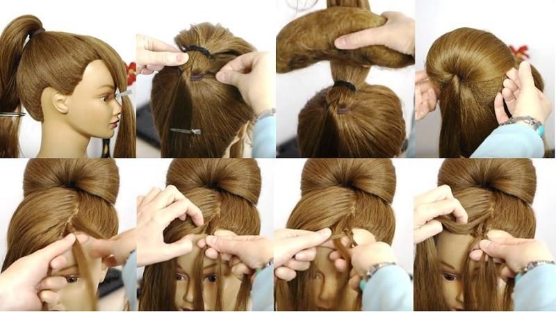 Оригинальная высокая причёска с плетёной чёлкой, этапы выполнения 1