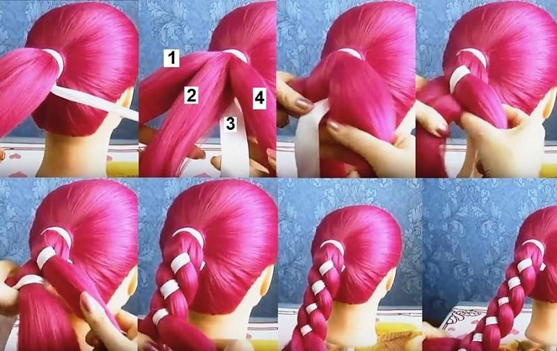 Этапы плетения четырёхпрядной косы с использованием ленты, фото