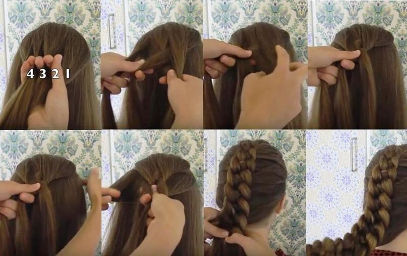 Французская коса из 4 прядей, схема плетения поэтапно