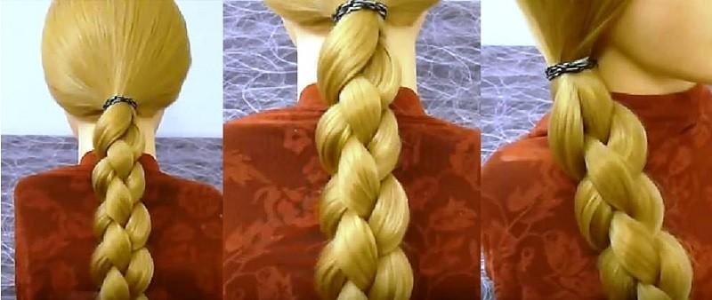 Круглая 3D коса, заплетённая из 4 прядей