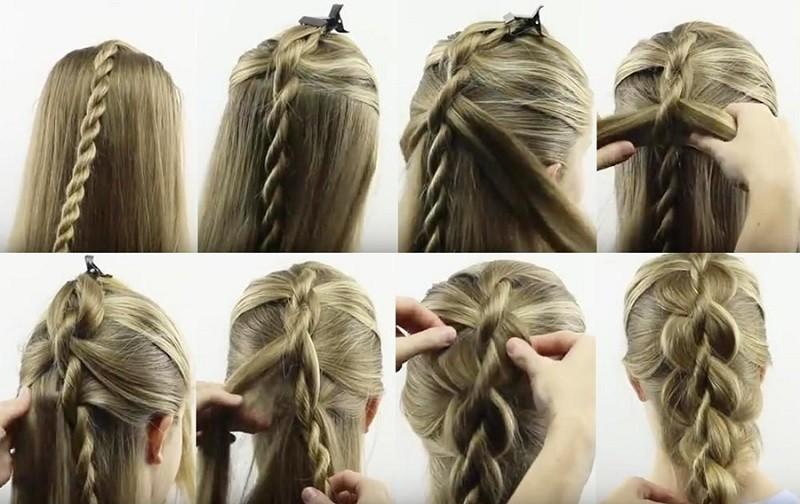 Ложное плетение четырёхпрядной косы, выполнение поэтапно фото