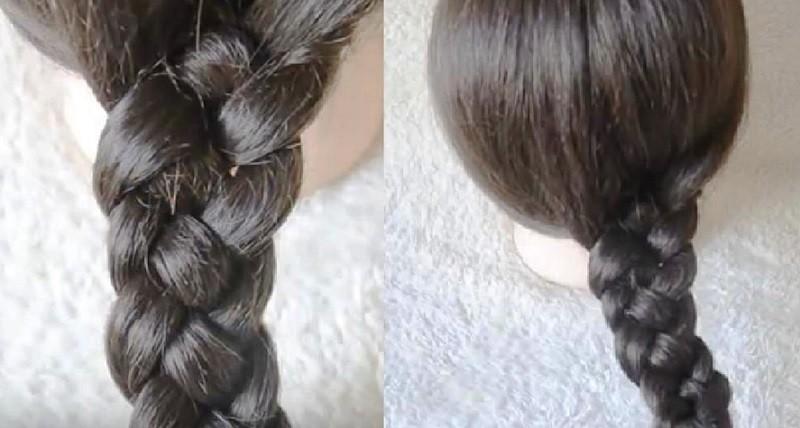 Классическая коса из 4 прядей