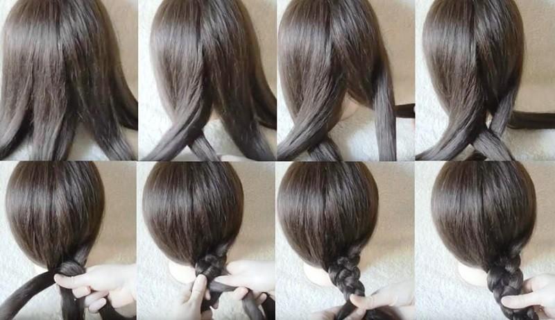 Классическая схема плетения косы из 4 прядей, фото поэтапно