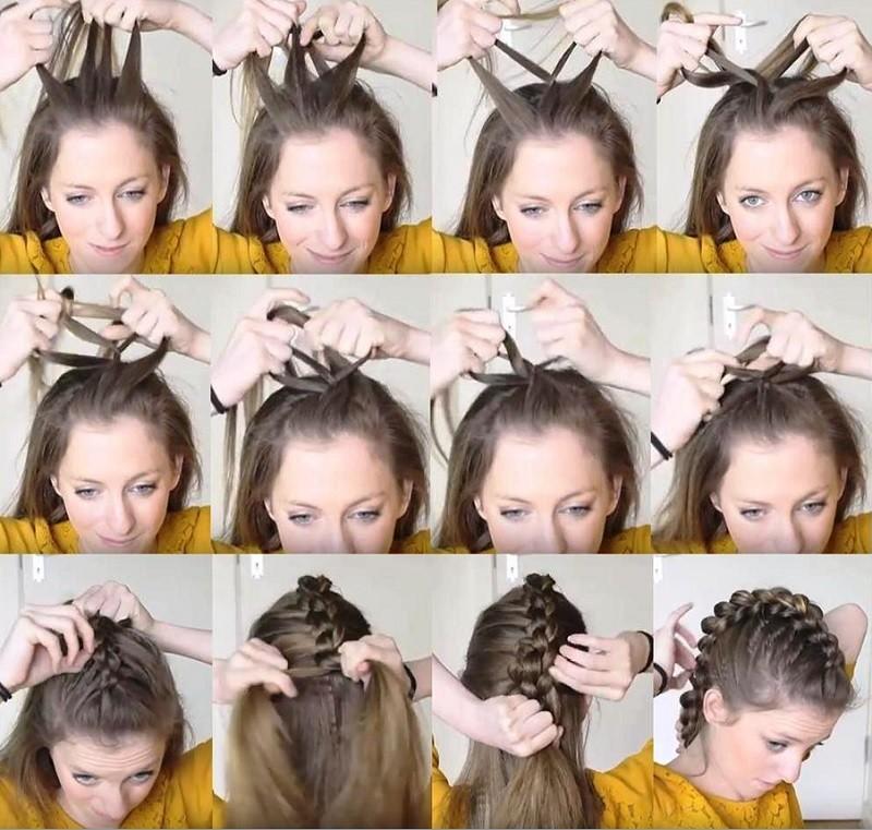 Коса дракончик из 4 прядей, схема плетения прически поэтапно с фото