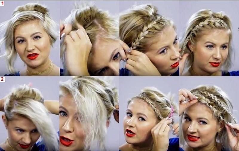 Коса ободок на короткие волосы: 1 и 2 способы плетения