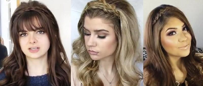 Коса ободок с распущенными волосами