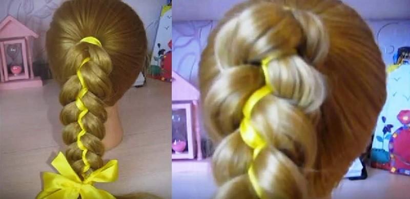 Пятипрядная коса с двумя лентами
