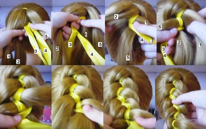 Фото-инструкция как заплести косу из 5 прядей с двумя лентами