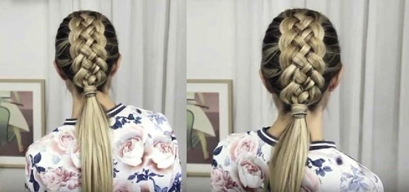 Красивая французская пятипрядная коса с хвостом