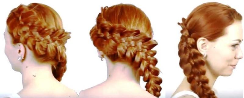 Французская пятипрядочная коса, заплетённая набок
