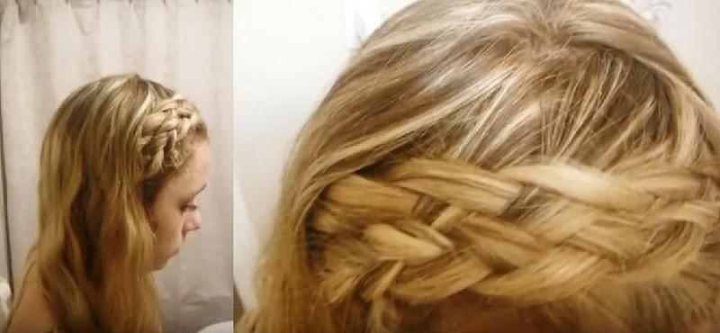 Ободок из пятипрядочной косы в сочетании с распущенными волосами