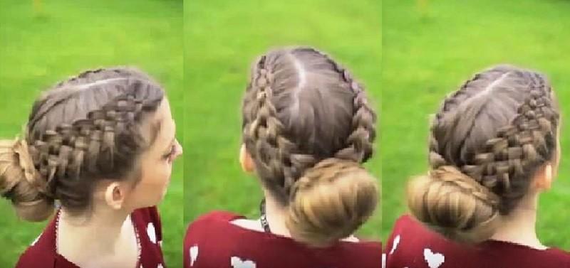 Две параллельные пятипрядные косы в сочетании с пучком-бубликом