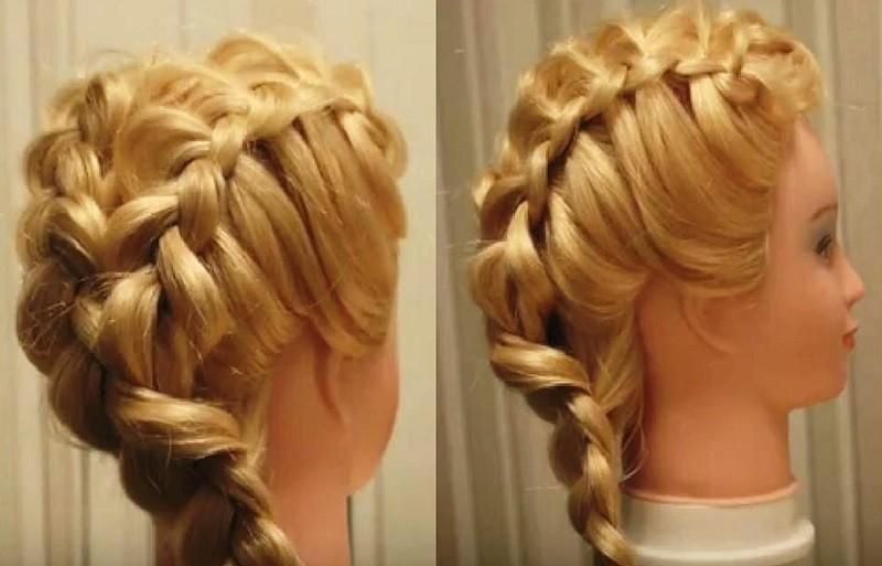 Причёска из двух «Колосков», соединяющихся в одну косу