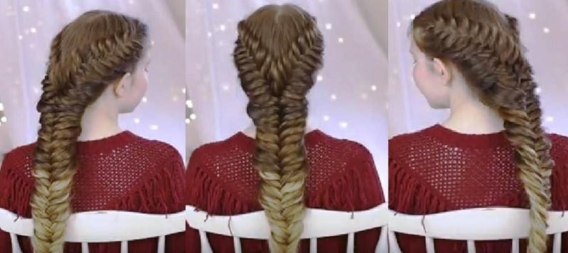 Красивая причёска из двух «рыбьих хвостов», объединённых в один