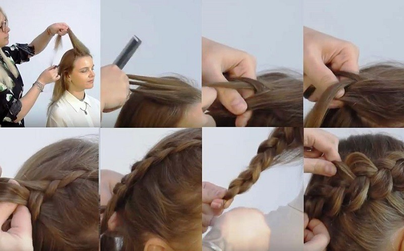 Вывернутая коса набок, фото выполнения поэтапно