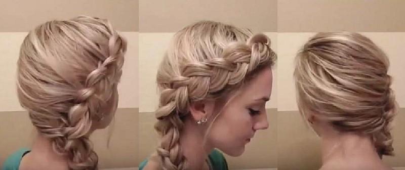 Вывернутая французская коса сбоку, фото с разных сторон