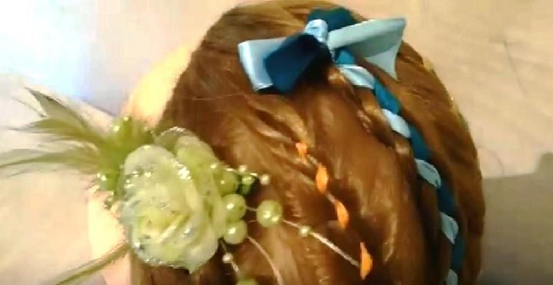 Как закрепить ленту в косе