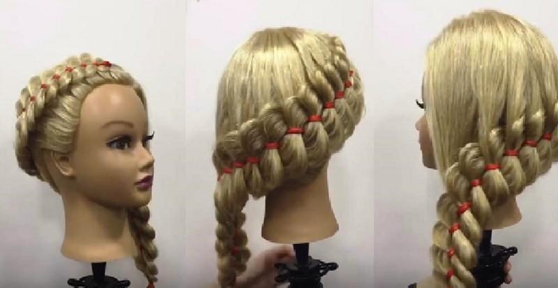 Диагональная вывернутая коса с лентой