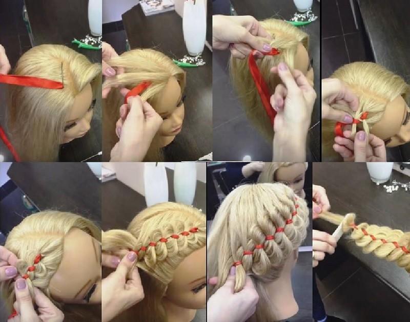 Диагональная вывернутая коса с лентой: поэтапное выполнение