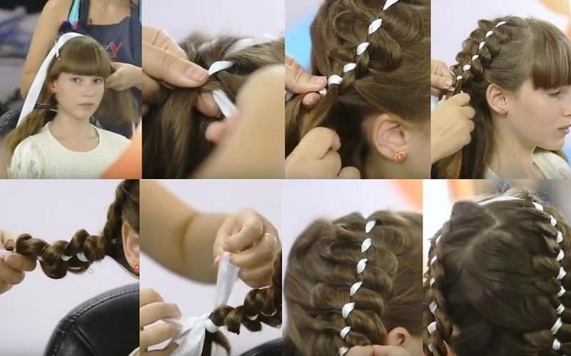 Французская коса навыворот с лентой, этапы выполнения