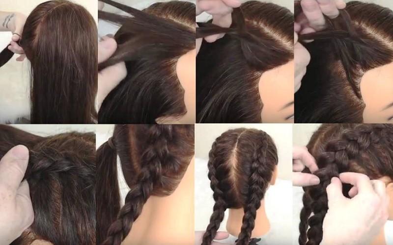 Две параллельные вывернутые косы, выполнение поэтапно с фото