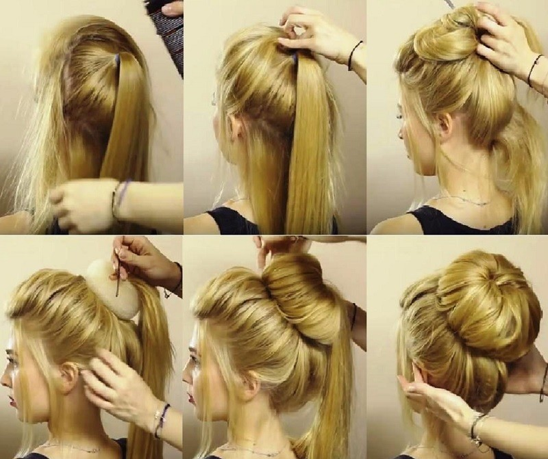 Причёска без чёлки на средние волосы «Объёмный пучок», выполнение поэтапно