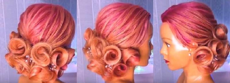 причёска на выпускной «Розы из волос»
